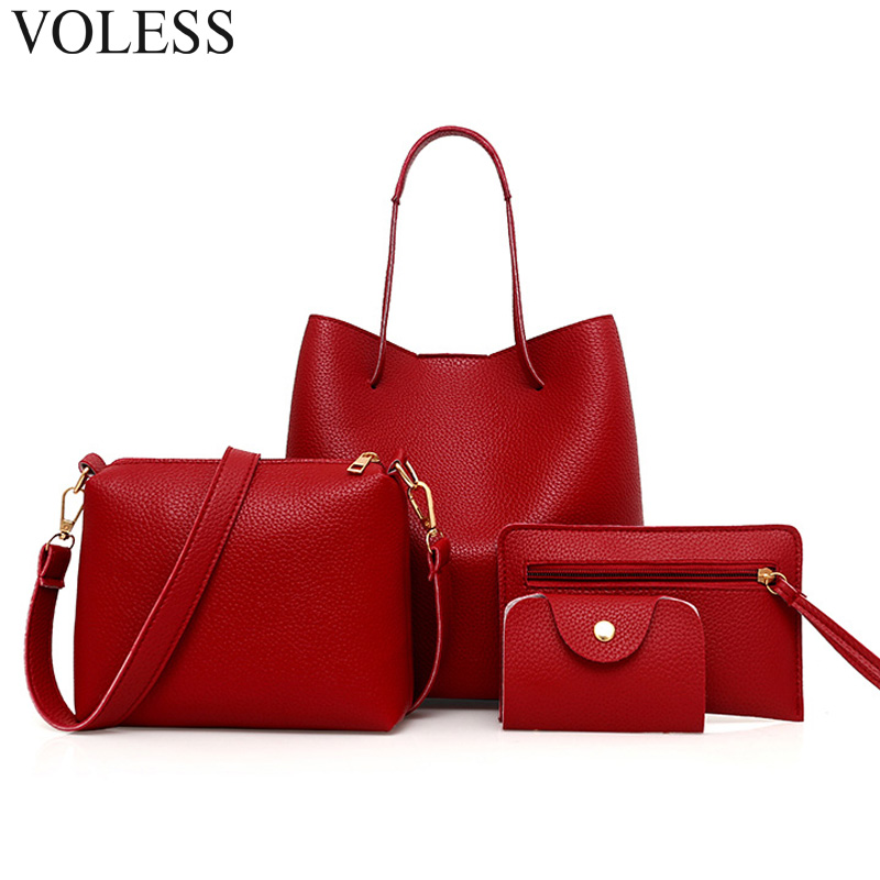 Famous Brand Bucket Casual Tote Bags Luxury Handbag Pu Leather Designer High Quality Crossbody Bags 4 PCS Women Composite Bag new 2016 famous brand women backpacks designer high quality pu leather backpack casual women shoulder bags hot sell crossbody