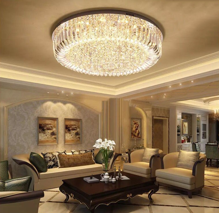 Light Filled Contemporary Living Rooms: T Crystal LED Ceiling Light Circular Luxury Living Room