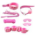 7PCS Pink Fur Bondage SM Fetish Set Kit Whip Rope Blindfold Cuffs Ball Gag Gay Sex Toy