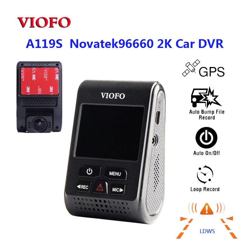 D'origine VIOFO A119S V2 2.0 LCD Condensateur Novatek 96660 HD 2 k 1440 p de Tableau de bord de Voiture enregistreur vidéo DVR GPS en option Filtre CPL