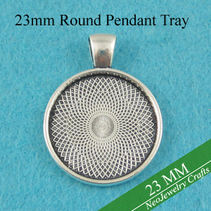 23mm Antique Silver Round Pendant Tray 7 8 Inch Glass Cabochon Setting 23mm Pendant Blank 23mm