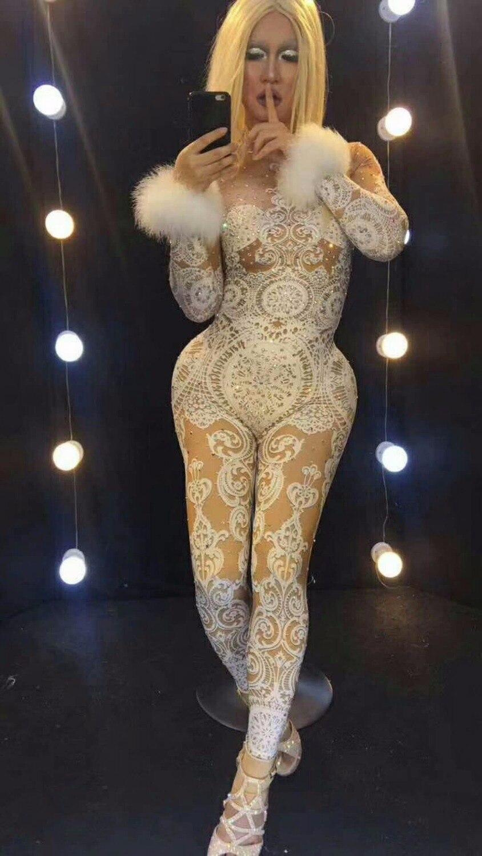 Chanteuse Nude Dentelle Blanc Seule Pierres Salopette D'une Glisten Strass Costume Pièce Stretch Porter Sexy Tenue Stage Body wqX4RE5Rx
