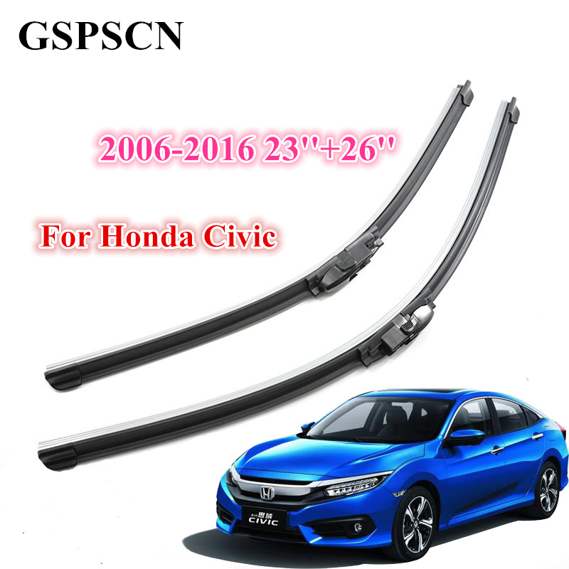 GSPSCN 2pcs/Pair Windshield Car Wiper Blade For <font><b>Honda</b></font> <font><b>Civic</b></font> 2006-2016 Silicone Wipers Rubber High Quality <font><b>Accessories</b></font> Windscreen image