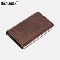 Metal And Leather Men Card Holder RFID Stainless Steel Anti Theft Automatic 13 Cards Pop Up