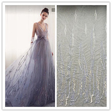 купить 5 yards Graceful Soft Tulle Line Embroidery Lace Fabric in grey for wedding gown, bridal dress , haute couture по цене 3293.31 рублей