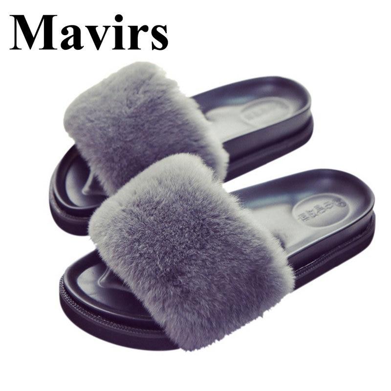 MAVIRS Women Shoes Fashion Indoor & Outdoor Slides Fur Slippers Black Gray Wine Red Slip on Flat Sandals Cute Soft