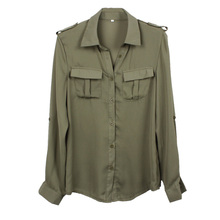 Women Tops Promotion Plus Size 2015 Sexy Army Shirt Women Blouse Turn-down Collar Euro Style Chiffon Sleeve Blusa Recommend Top