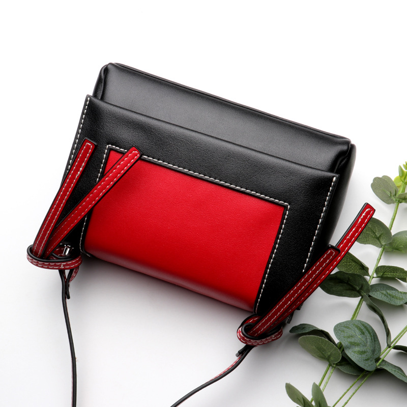 The new ladies leather cross paragraph square hit color party bag The tide wild women cross paragraph leather cross shoulder bag women s new hit color stylish leather square bag europe and american stylish cross single shoulder diagonal bag