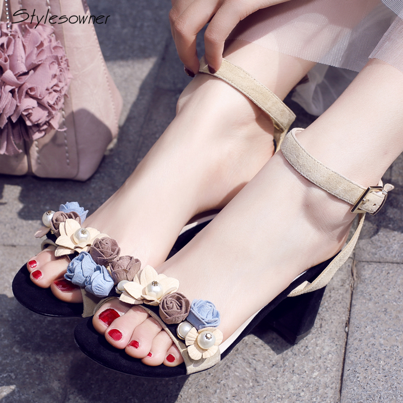 Stylesowner Ankle Buckle Big Size 42/43eu High Heels Sandals Flower Pearl Fashion Sandals Summer Open Toe Thick Heels Party ShoeStylesowner Ankle Buckle Big Size 42/43eu High Heels Sandals Flower Pearl Fashion Sandals Summer Open Toe Thick Heels Party Shoe