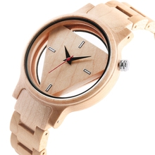 Wood Watches Men Creative Hollow Triangle Simple Bamboo Wooden Wrist Round Dial Watch Quartz Analog Clock Gift reloj para hombre fresh green beige nylon dial women s novel bamboo analog watch minimalism wood female genuine leather clock reloj de madera 2017