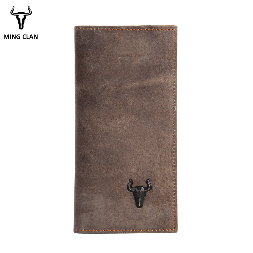 Mingclan Women Long Wallet Vintage Crazy Horse Leather Coin Purse Credit Card Holder Rfild SIM Card Ladies Purses Female Wallets