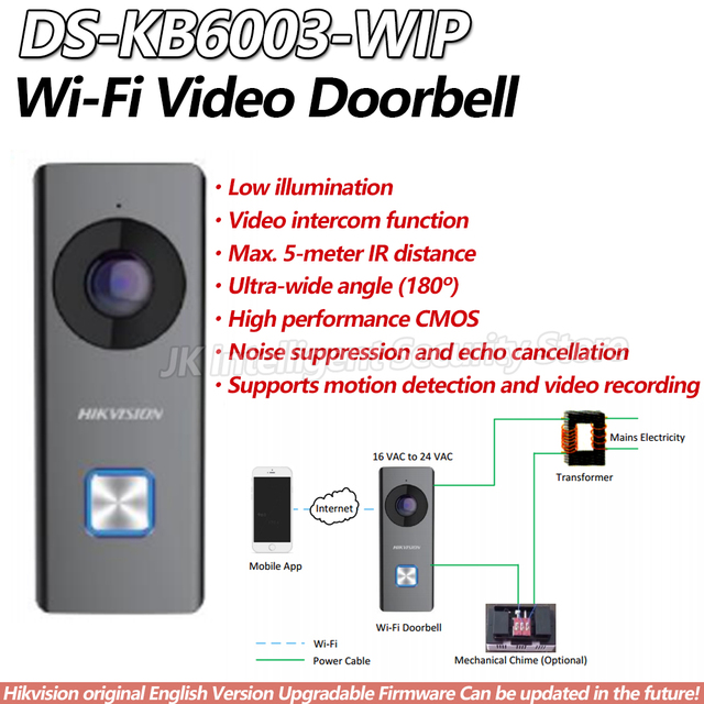 US $167 5 |Hikvision DS KB6003 WIP Wi Fi Video Doorbell Surveillance Camera  Smart Real Time Two Way Speaker Intercom System Night Vision -in