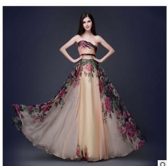 4746f5f1473f7 3 Designs Evening Dresses Stock One Shoulder Flower Pattern Floral Print  Chiffon Evening Dress Gown Party Long Prom dresses 2017-in Evening Dresses  from ...