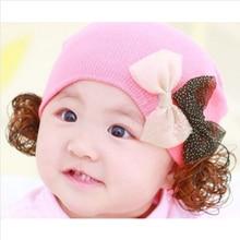Новая Мода Дети Шапка Осень Зима Шляпы Для Девочек Звездное двухместный Бабочка Шапочка Caps Милый С Парики Шляпы Для Девочек HT52033 + 35