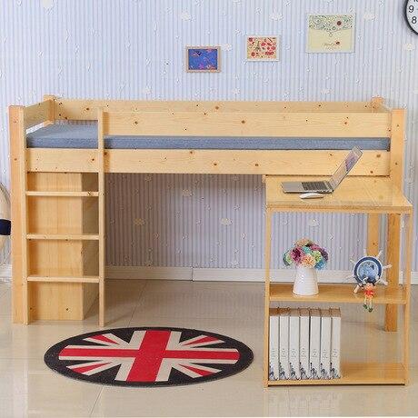 Camas para niños Muebles para niños madera sólida media alta cama ...