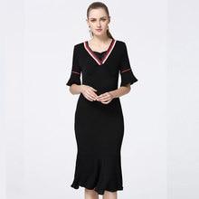 8fc6d9623f04 Moda estilo europeo y americano de alta gama de la marca de primavera y  otoño ropa de mujer cuello en V Delgado bolsa cadera col.
