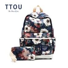 Ttou печати рюкзак цветы холст рюкзак студент школьная сумка граффити рюкзак для подростков модная одежда для девочек Дорожные сумки