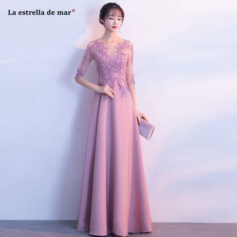 Robe Demoiselle D'honneur New Scoop Neck Lace Satin 3/4 Sleeve A Line Blush Pink Bridesmaid Dresses Long Wedding Guest Dress