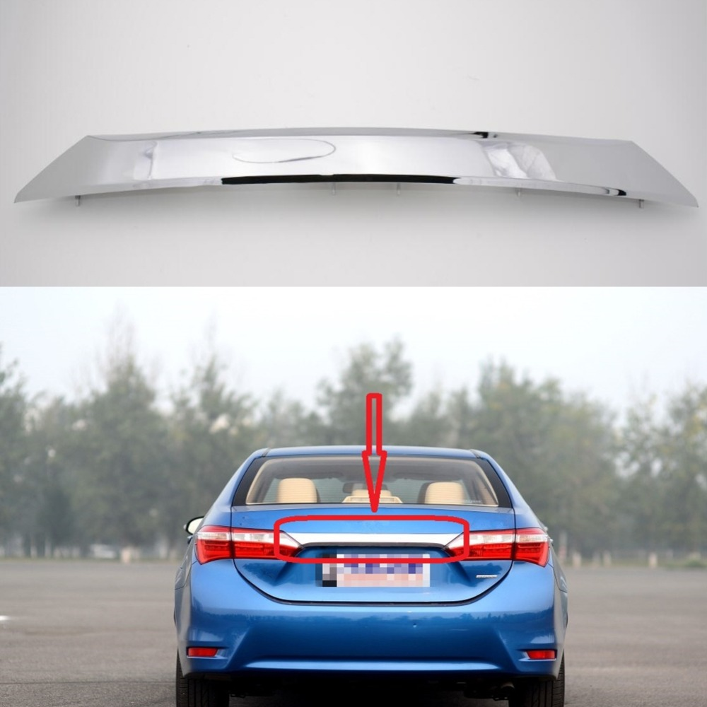 1Pcs Chrome Rear Hatch Trunk Lid Tailgate Door Cover Plate Trim Molding Cover 76801-02E70 for TOYOTA Corolla 2014 hottop 1 pcs for toyota rav4 2013 2014 chrome rear trunk lid cover trim
