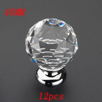 40MM 12pcs Fashion K9 Crystal Diamond Furniture Handles Hardware Drawer Wardrobe Kitchen Cabinets Cupboard Door Knob