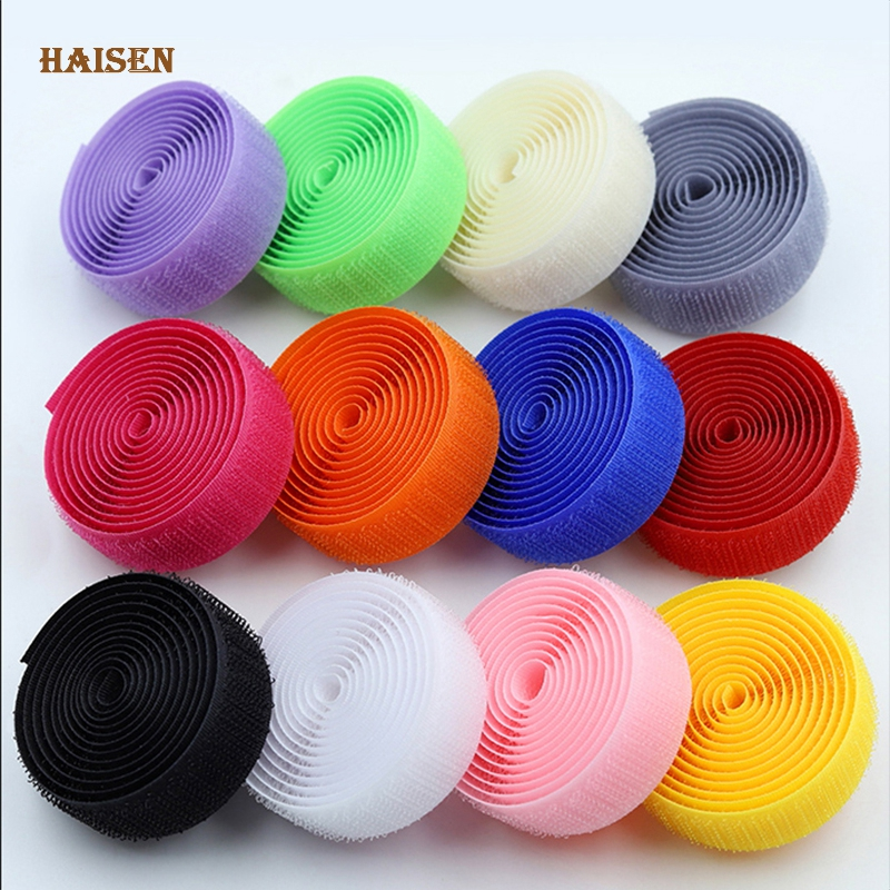 Haisen,2cm*1M Soft Nylon Hook and Loop Adhesive Fastener,AB Sticky Stickers/ Magic Tape For DIY Sewing Accessories Garment,Bag