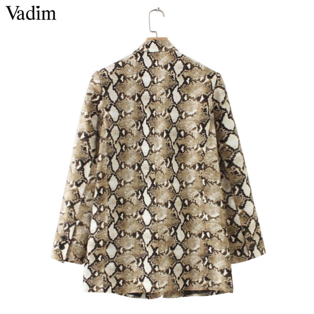 Image 4 - Vadim vintage snake print blazer pockets Notched collar long sleeve coat outerwear female retro loose casaco feminines CA154Blazers   -