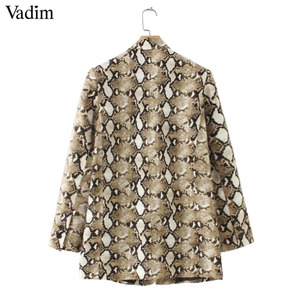 Image 4 - Vadim vintage snake print blazer zakken Gekerfd kraag lange mouwen jas bovenkleding vrouwelijke retro losse casaco feminines CA154