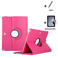3in1 Rotating 360 Degree Luxury Folio Stand Leather Case Cover +Film +Stylus For Samsung Galaxy Note 10.1 2014 Edition P600 P601