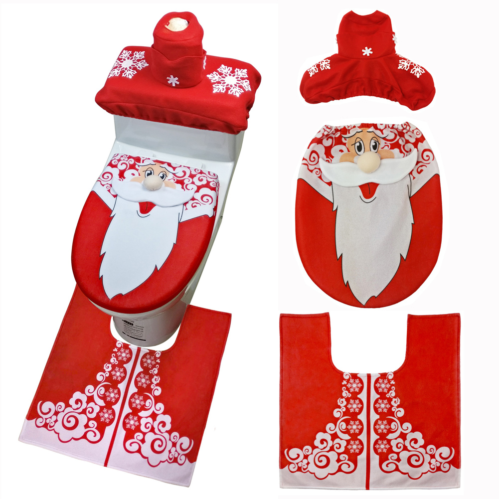 3pcset Christmas Toilet Seat Cover Toilet Foot Pad Santa Claus Toilet Seat Cover Wc Bathroom Stickies