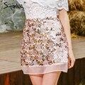 Simplee Gold sequin mesh mini skirts womens 2017 chic high waist skirt Zipper casual short party beach black skirt