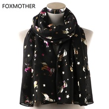 FOXMOTHER Lightweight Shawl Multi Coloured Foil Glitter Scarfs For Womens With Unicorn Horse Print Scarves Ladies Dropshipping