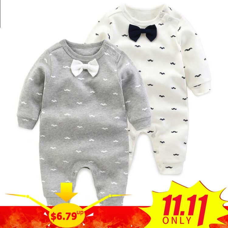 2018 spring - Autumn baby boy clothing Cotton Long Sleeved baby boy clothes ,cartoon Beard Gentleman baby romper Infantil babies gentleman baby baby clothes cotton baby costume long sleeve baby romper for wedding and party