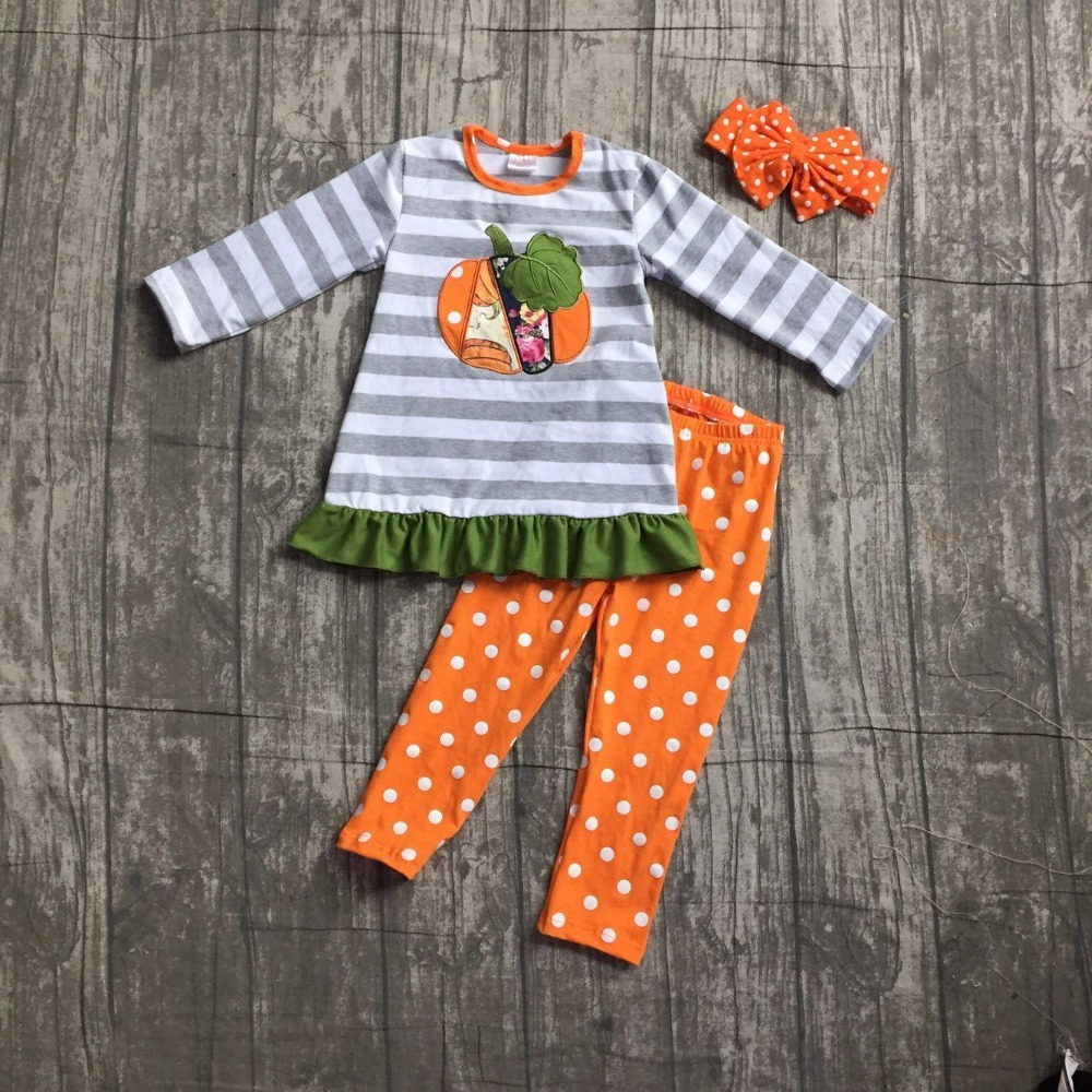 children Fall/Winter long sleeves pants kids girls grey stripes top pumpkin print top with polka dot long pants clothes with bow girls slogan print tee with striped pants
