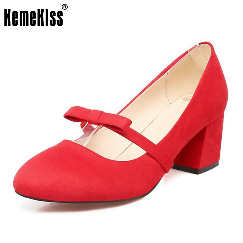 KemeKiss Size 34-43 Ladies High Heel Shoes Women Bowtie Round Toe Thick Heels Pumps Dating Party Daily Sexy Club Female Footwear 2014 new fashion square heel shoes shallow mouth bowtie shoes dating casual pumps hot sale eur size 34 43