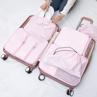 8PCS/Set Quality Kit Mesh sort Suitcase Clothing Shoe bag storage bag Luggage Organizer Packing Cosmetic bags Travel accessories