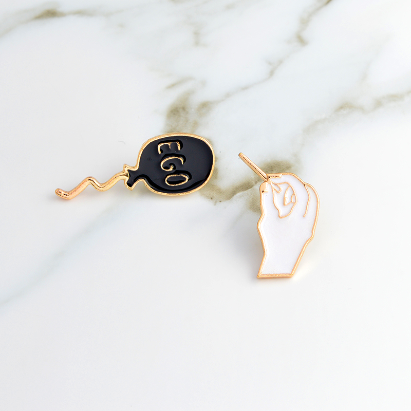 EGO black balloon and Hand holding the needle pin Cartoon pins Badges Hard enamel pins Brooch Backpack hats Accessories