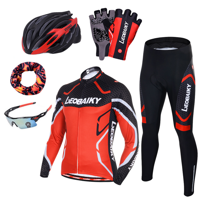 Pro Team Cycling Clothing Men Long Sleeve Bicycle Jersey Set Sport MTB Wear Quick Dry Mens Road Bike Clothes Male Riding Suit