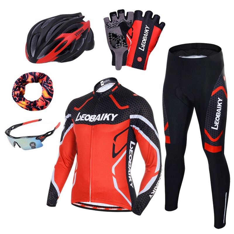 Pro Squadra di Ciclismo Abbigliamento Da Uomo A Manica Lunga Bicicletta Jersey Set Sport MTB Wear Quick Dry Mens Bici Da Strada Vestiti di Sesso Maschile vestito di equitazione