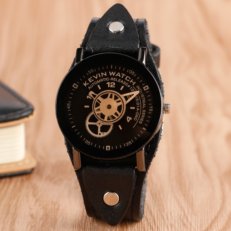 2017 Men Women Wrist Watches Fashion Steampunk Creative Quartz Watch KEVIN Unique Wristwatches Black Leather Clock adjustable wrist and forearm splint external fixed support wrist brace fixing orthosisfit for men and women