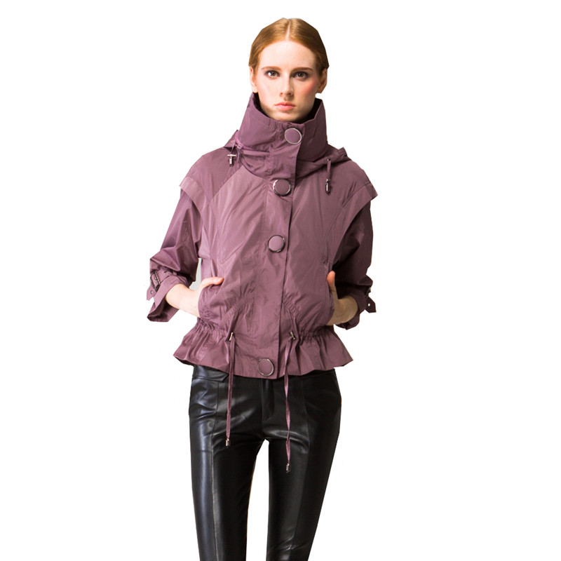 Qpipsd New Fashion Jacker 2018 Spring Autumn Pure High necked Jacket Windbreaker Women Bomber Single Breasted