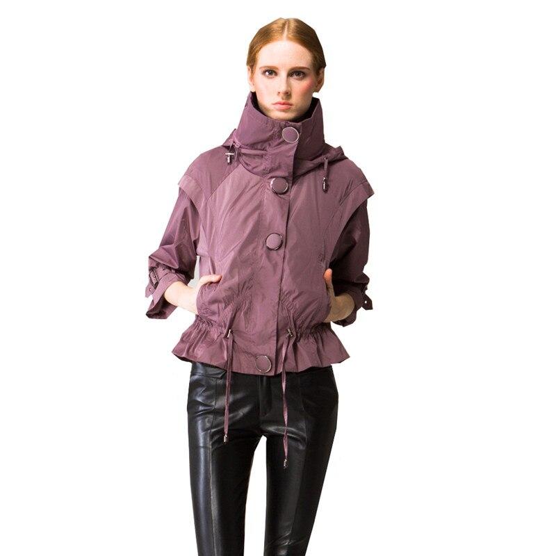 Qpipsd新しいファッションジャッカー2018春秋純粋なハイネックジャケットウインドブレーカー女性爆撃機シングルブレストジャケットウインドブレーカー  グループ上の レディース衣服 からの ベーシックジャケット の中 1