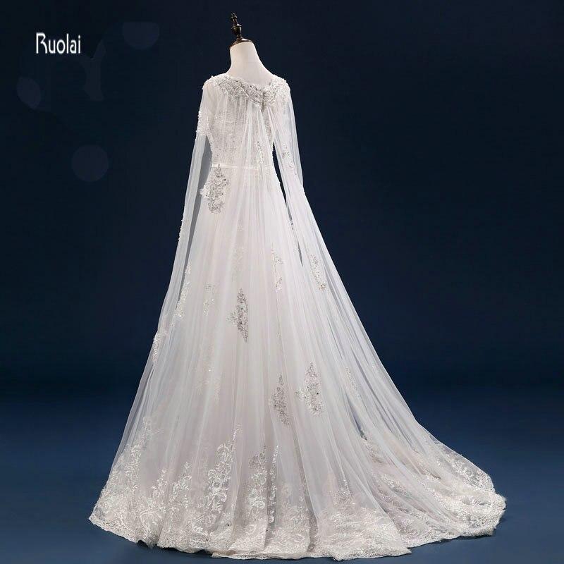 Vestido De Noiva Personalizat Mărgești Aplicații cu maneci lungi - Rochii de mireasa - Fotografie 3