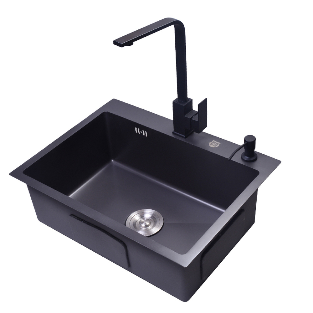 Kitchen sink single slot 4mm thick 304 stainless steel black nano antibacterial sink with faucet wx05031445 450x390x200mm 304 stainless steel kitchen sink brushed single bowl slot vegetable trough tank with faucet basket drain assembly