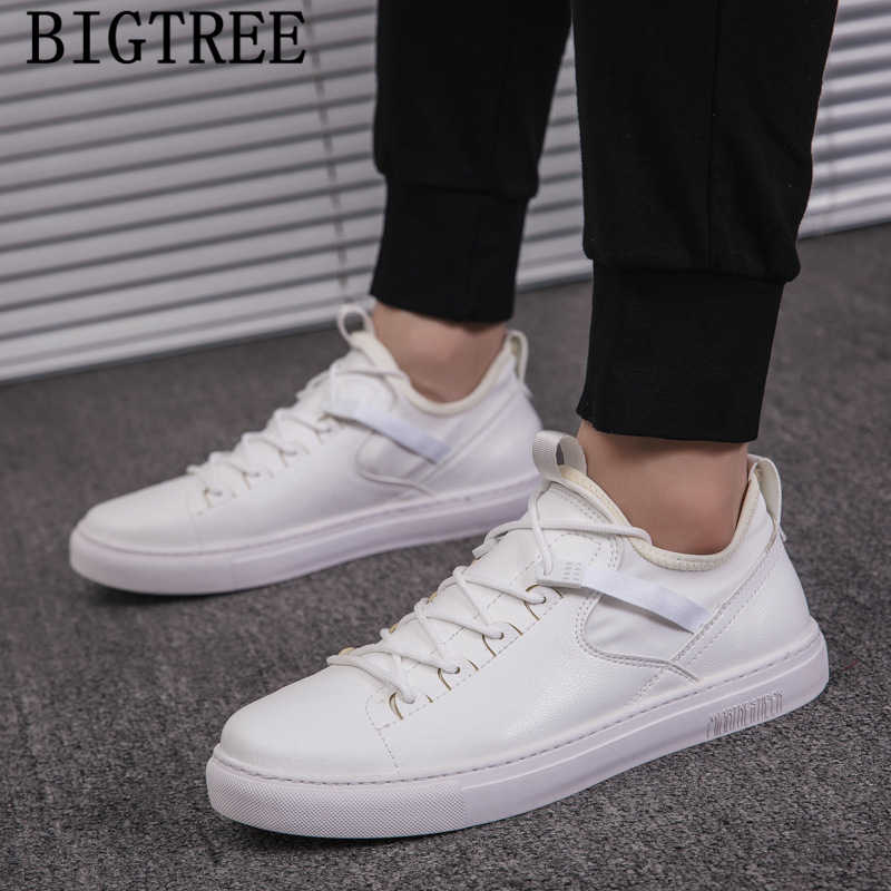 Leather Shoes Men White Sneakers Luxury
