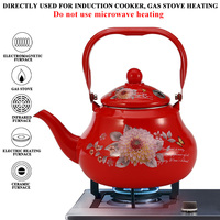 Enamel Kettle Cold Water Teapot Induction /gas Cooker Camping Kitchen Enamel Pot