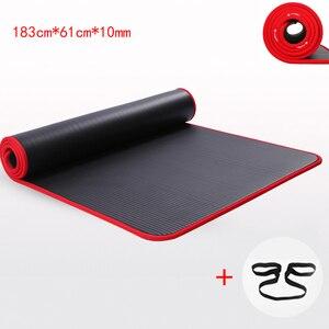 Image 1 - 10MM ekstra kalın yüksek kaliteli NRB sigara kaymaz Yoga paspaslar Fitness çevre tatsız Pilates Gym egzersiz pedleri bandaj ile
