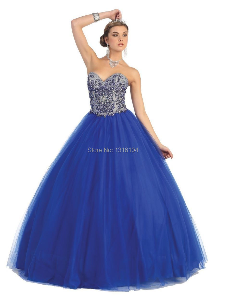 2017 New Winter Cheap Royal Blue Ball Gown Floor Length Sweetheart ...