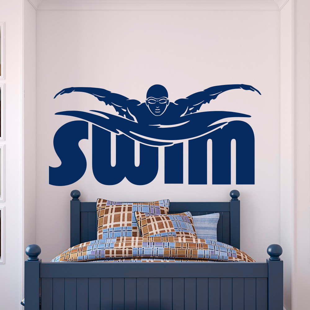 Gym sports wall decal stickers swim swimming pool swimmer for Swimming pool room decor