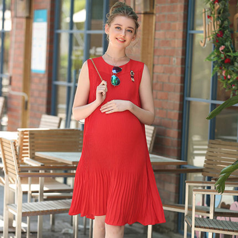 Mothers Day Summer Fashion Maternity O-Neck Sleeveless Pregnant Dress Casual Maternity Clothes For Women Vestido Top