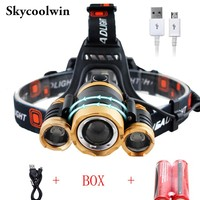 High Quality 10000LM Induction Headlight XM L 3T6 Headlamp LED IR Sensor Head Lamp For Outdoor Cycling Lamp Waterproof